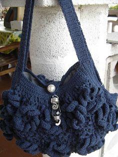 borsa crochet blu cobalto 3d