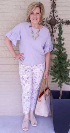 50 IS NOT OLD | PASTELS FOR SPRING | FASHION OVER 40 | Spring transition outfit | Printed pants | Lilac | Fashion over 40 for the everyday woman #women'sfashionforover50