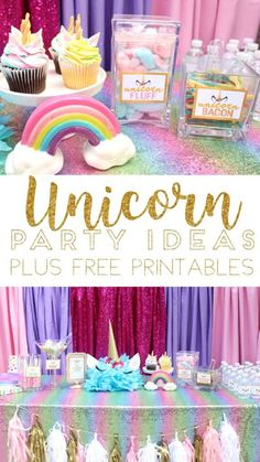 Unicorn Birthday Party Ideas with Unicorn Horn tutorial and FREE party printables