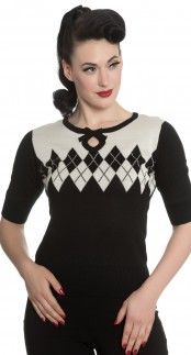 Hell Bunny Chantel Jumper in Black and Ivory Blame Betty