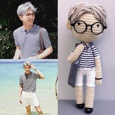 Namjoon --- Some fun facts: ~ I nicknamed this doll Dad Namjoon ~ My dolls don't really have feet but I tried my best to give him those doc marten sandals, including the buckles~ ~ His entire upper body was made twice ~ The mini tote bag is fully functional! ~ @_nietzstar is the best for commissioning this doll!! ❤️❤️❤️ . . . . . . . #crochet #amigurumi #bts #btsfanart #bangtan #bangtanboys #bangtansonyeondan #방탄소년단 #kimnamjoon #namjoon #rapmonster #rm #김남준 #yoongi #suga #jim...