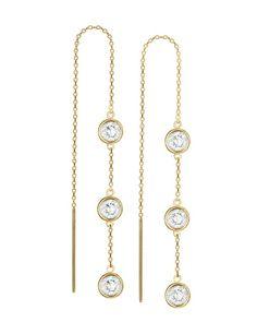 """The 5"""" 14k Gold Vermeil Triple Drop Threader Earrings by JewelMint.com, $48.00"""