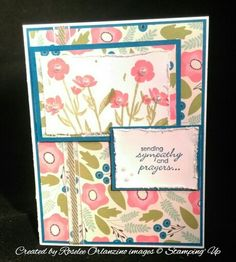 Wild about flowers stampin up sympathy card Pacific point, whisper white, and pretty petals dsp Calypso coral, old olive, and pcific point ink pads Old olive organdy ribbon and tim holtz paper distresser