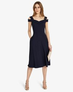 Phase Eight Gillenia Flared Dress Blue