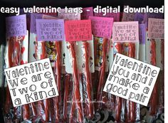 Valentine tags to use with playing cards and any two items like licorice, pixie sticks, smarties, sticks of gum, etc. Digital download. Easy DIY!