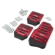 Non Slip 3 Pcs Car Red Pedal Manual Transmission Cover Brake Clutch Accelerator