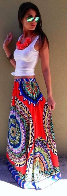 Summer trends: maxi skirts & bohemian looks 2014 Trends, Summer Trends, Summer 2015, Looks Style, Style Me, Trendy Style, Traje Casual, Look 2015, Mode Boho