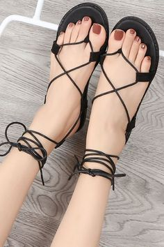 e88184bb0 Lace Up Strappy Thong Flat Sandals