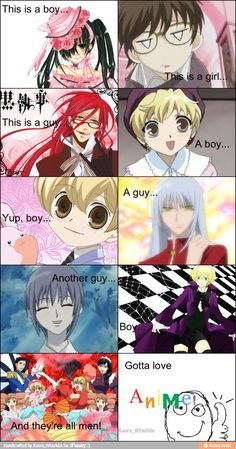 How to navigate the wide world of anime genders..... And most of these pics are from fruits basket and Ouran