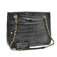 Auth-CHANEL-CC-Logos-Chain-Shoulder-Bag-Black-Crocodile-Leather-Vintage-A22150