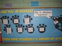 Why attendance is important Attendance Display, Attendance Incentives, Attendance Board, School Attendance, Attendance Ideas, Elementary Counseling, School Counselor, Elementary Schools, Bulletin Board Display