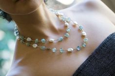 Aquamarine and Baroque Pearl Necklace  aquamarine by jaunebleu, $308.00