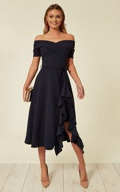 Wedding Guest Dresses Picture exclusive bardot off shoulder frill midi dress navy Wedding Guest Dresses. Here is Wedding Guest Dresses Picture for you. Winter Maternity Outfits, Winter Outfits Women, Winter Fashion Outfits, Women's Fashion Dresses, Dress Outfits, Fashion Top, Party Outfits, Maternity Dress, Wedding Outfits