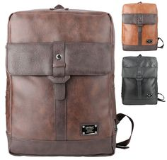 Men Vintage Faux Leather Backpacks Daypacks Casual School Laptop Book Bags HP620 #Unbranded #Backpack