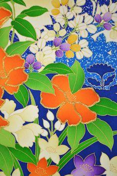 VINTAGE SILK WEDDING FABRIC:Lovely Kikkyou Flower/Orchid@H84