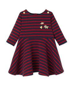 Robe bébé fille rayée bleu Smoking / rouge Froufrou - Petit Bateau