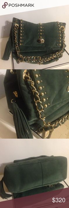 """Jenrigo Green Leather Handbag This purse is in excellent condition. Hardly used. Features -  leather that has a suede feel Height 7 1/2"""" (19 cm), Width 16"""" (40.7 cm), Depth 6 1/3"""" (16 cm) Handle Drop 6 1/2 (16.5cm) One large interior zip pocket, cell phone and miscellaneous slip pockets. Turn Lock Closure. Gold tone Metal Hardware. Signature Nylon Fabric Lining. Made in Italy! Comes with original dust bag. RETAIL PRICE: $625 Jenrigo Bags"""