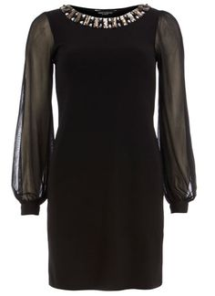 Dorothy Perkins Black Gem Neckline Dress, $44.00