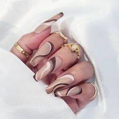 Brown Acrylic Nails, Brown Nails, Best Acrylic Nails, Acrylic Nail Designs, Abstract Designs, Brown Nail Designs, Brown Nail Art, Art Designs, Coffin Acrylic Nails