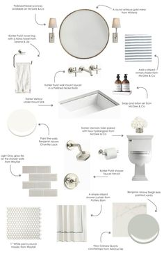 "Shop Gilt Minimalist Mirror, HULTON SCONCE, Purist Wall-Mount Sink Faucet Trim, Cross Handles | K-T14413-3 | KOHLER, Purist Towel Ring | K-14441 | KOHLER, Gobi Hand Towel, PERFECT STRIPE BY THE YARD, Chantilly Lace OC-65 | Benjamin Moore, MURCHISON-HUME HAND DUO, Giorbello 3"" x 6"" Glass Subway Tile in Light Gray, Purist Rite-Temp Pressure-Balancing Shower Trim 