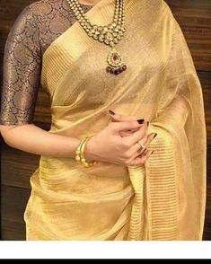 Pure tissue linen sarees with blouse.Pure tissue linen sarees with blouse . 🌻 to see more collections 📲 Direct message (or) Whatsapp 9600000480 with the product code for price details, orders and queries ❤ Book urs soon ❤ 💫 . Saree Blouse Neck Designs, Saree Blouse Patterns, Fancy Blouse Designs, Golden Blouse Designs, Brocade Blouse Designs, Kerala Saree Blouse Designs, Designer Blouse Patterns, Lehenga Designs, Mehndi Designs