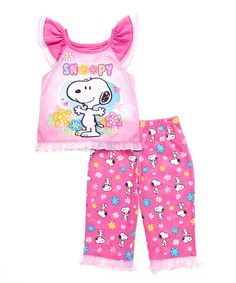 1c9c955fbd Peanuts by Charles Schulz Pink Snoopy Ruffle Lounge Pant Set - Infant    Toddler
