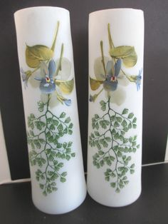 art deco pair frosted glass vases enamalled  maidenhair fern violets? #unknown