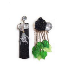 Nikki Couppee, Midnight Cocktail Earrings, 2016, Plexiglass, brass, sterling silver, fine silver, found objects