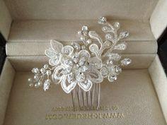 Rhinestone lace hair comb for wedding bridesmaids by MeldaDeBride, $75.00