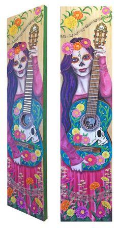 La Musica Es Mi Vida - mixed media on pine, by Lisa Vollrath.
