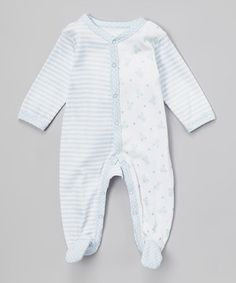 Another great find on #zulily! White & Blue Bear Footie - Infant by Vitamins Baby #zulilyfinds