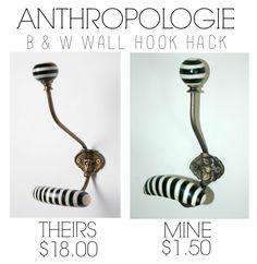 Little House of Four: {Knock off} Anthropologie B & W Hooks