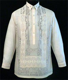 Piña-Jusi Barong Tagalog - Barongs R us Modern Filipiniana Gown, Filipino Fashion, Philippine Fashion, Barong Tagalog, Wing Collar, Line Shopping, Formal Shirts, Traditional Outfits, Shirt Style