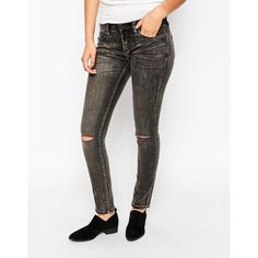 Blank NYC Skinny Jean with Ripped Knees ($68) ❤ liked on Polyvore featuring jeans, in the buff, white skinny jeans, distressed jeans, white jeans, tall skinny jeans and low rise skinny jeans