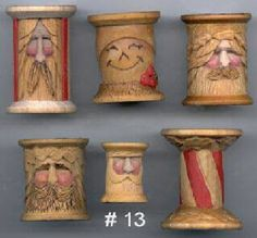 carved wooden spools | Decorative Relief Carving in Wooden Spools