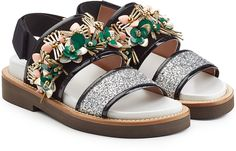 Marni Embellished Sandals with Patent Leather and Glitter