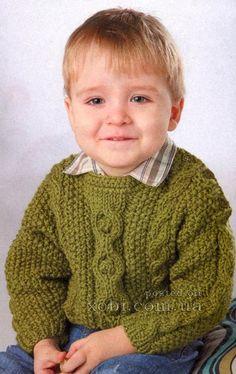 зеленый пуловер с косами для мальчика