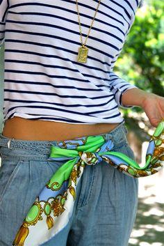 Aha!  Great idea for tying a scarf on my belt loops...genius!  I'll do it!