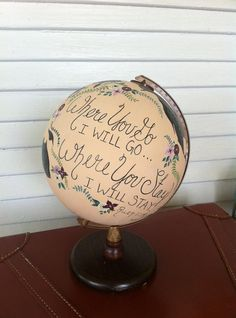Painted Globe for Whimsical Wedding  Custom by DarlingDixonsStudio, $150.00