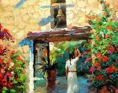 Callejón de las flores gran óleo sobre lienzo por por spirosart