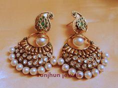 Ambi shaped pearl danglers fow the wedding - Runjhun Designer Jewellery, Tanjore Craft