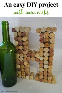 A fun easy project with wine corks. Make a letter to display at home or at your wedding! | Green With Decor