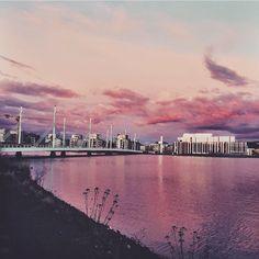 Pink skyline.  Jönköping, Sweden.