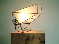 light object made out of steel wire and perspex