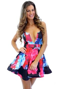 57ba8e6433 Sophisticated Plunging Cutout Neck Print Skater Dress US 26.45 Skater Style  Dress