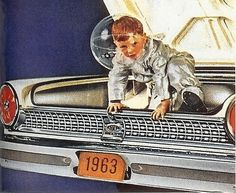 cryptofwrestling: Astro Kid escapes via the trunk in this detail of a 1963 Ford brochure.