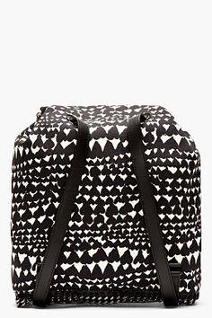 STELLA MCCARTNEY Black & cream heart-print rucksack