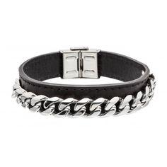 Man Steel And Leather Bracelet Marlu' - Bracciale Uomo Pelle e Acciaio Marlù