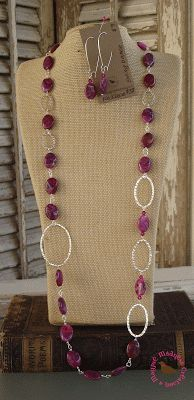 Swing Dance Swing your partner to and fro with this lively little number. 31 inches of crazy lace agate dyed pink, Swarovski crystal and hammered silver plated links. Necklace $38, Earrings 10