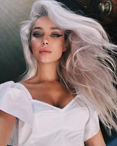 C:@alinaceusan|Instagram Dyed Hair, Make Up, Hair Styles, Instagram, Outfits, Clothes, Fantasy, Digital, Silver